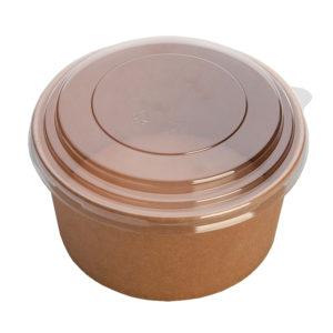"Posuda papirnata ECO RCONT ""Pure Kraft"" 620 ml d = 150 mm, h = 45 mm sa poklopcem (240 kom/pak)"