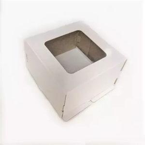 Kutija za tortu sa prozorom 300x300x300 mm, karton, bijela, 50 kom (komplet)