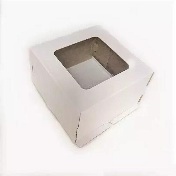 Kutija za tortu 300x300x300mm, karton, bijela, sa prozorom (50 kom/pak)