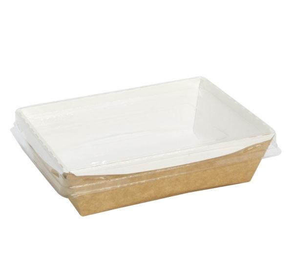 Posuda papirna Crystal Box 400ml sa providnim poklopcem 140x100x45mm, Kraft (250 kom/pak)