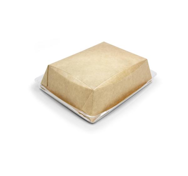 Posuda papirnata Crysatal Box 800 ml sa providni poklopcem 180х140х45 mm, kraft (40 kom/pak)
