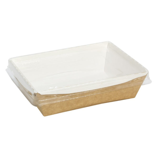 Kartonska posuda sa providnim poklopcem CrystalBox 800 ml 180x140x45 mm, kraft