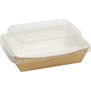 Posuda papirnata Crystal Box 500 ml sa poklopcem kupola 160x120x45 mm, Kraft (50 kom/pak)
