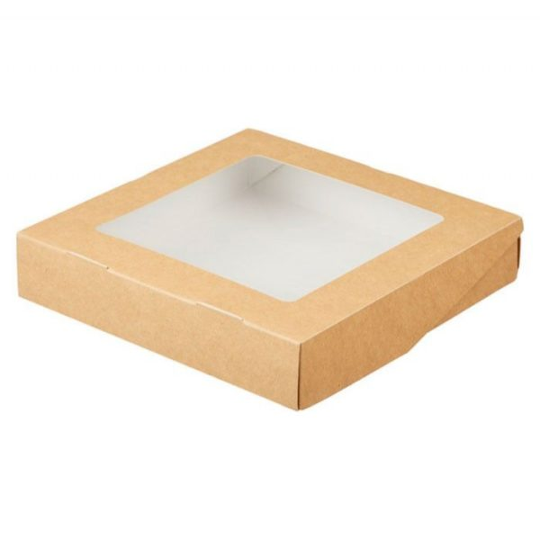 Papirnata posodica s prozorom ECO TABOX 2500 ml 260x260x40 mm, Kraft