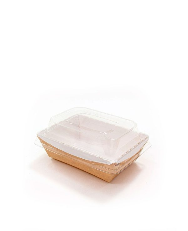 Posuda papirna Crystal Box 400ml s poklopcem kupola 100x140x70 mm, Kraft (400 kom/pak)