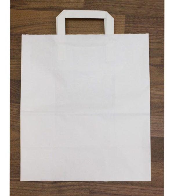 Papirna kesa sa plitkim ručkama 240x140x280 mm bijela (300 kom/pak)