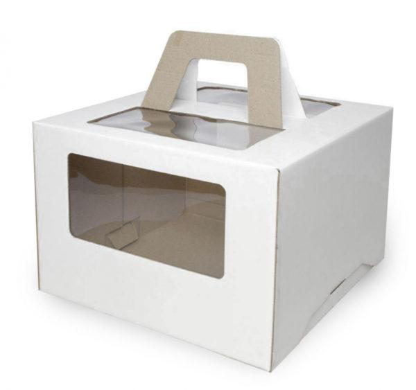 Škatla za torto z oknom, z ročaji 240x240x200 mm mikro valovit karton bijela (25 kom/pak)