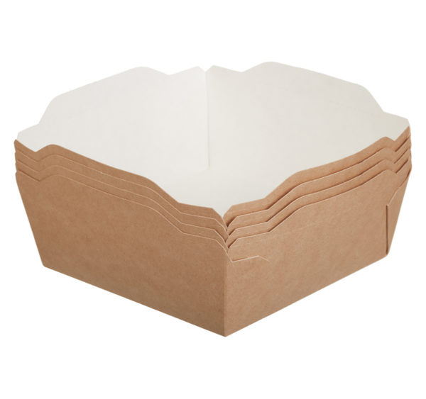 Posuda papirnata ECO OPSalad 1200 ml sa providnim poklopcem 165x165x65mm, Kraft (150 kom/pak)