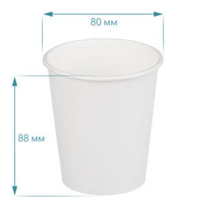 Čaša papirnata jednoslojna, 250 / 280 ml, d = 80 mm za vruče, bijela (50 kom/pak)