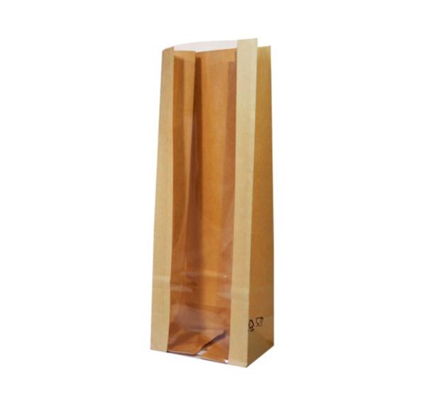 Papirna kesa sa prozorom 120(80)x80x300 mm kraft (600 kom/pak)