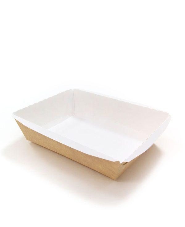 Posuda papirna Crystal Box 500 ml bez pokrova 160x120x45 mm, Kraft (125 kom/pak)