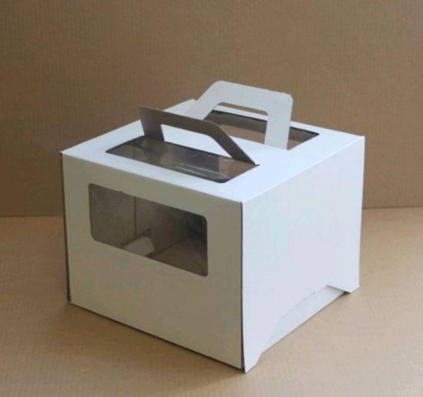 Škatla za torto z oknom, z ročaji 260x260x200 mm mikro valovit karton bela (25 kom/pak)