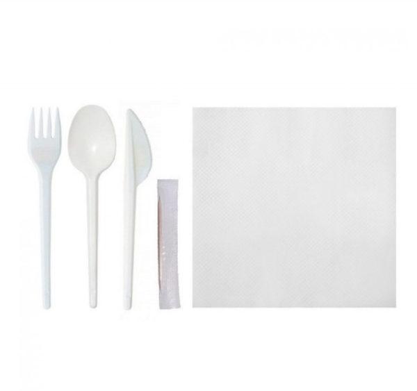 Servirni komplet 5: vilica, nož, žlica, zobotrebec, servieta (150 kom/pak)