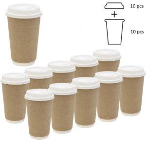 Komplet: papirna čaša 400 ml d=90 mm 2=slojni kraft sa poklopcem, 10 kom