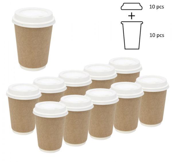 Komplet: papirna čaša 300 ml d=90 mm 2=slojni kraft sa poklopcem, 10 kom