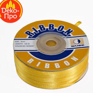 Satenska vrpca 3mm x 100 m žuta