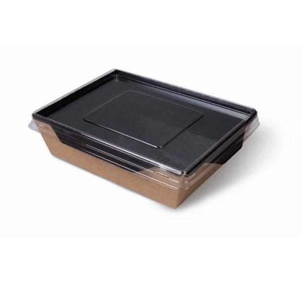 Kartonska posuda sa providnim poklopcem ECO OPSalad 800 ml 186х106х55mm, Black Edition (200 kom/pak)