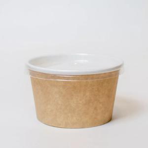 Kartonska posuda za supu 470 ml d=110 mm, h=65 mm kraft za poklopcem (500 kom/pak)