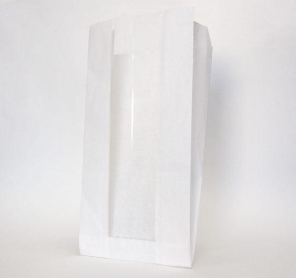 Papirna kesa sa prozorom 130(50)х100х300 mm bijela (2300 kom/pak)