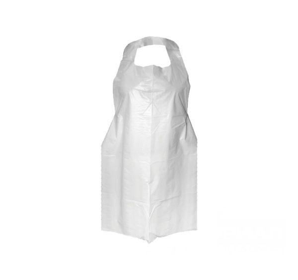 Kecelja za jednokratnu upotrebu HDPE bijela ToMoS 100 kom/pak