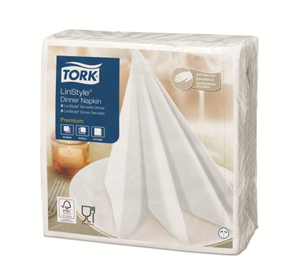 Salveta za večeru Tork Premium Linstyle® 39×39 cm, 50 l/pak, bijeli