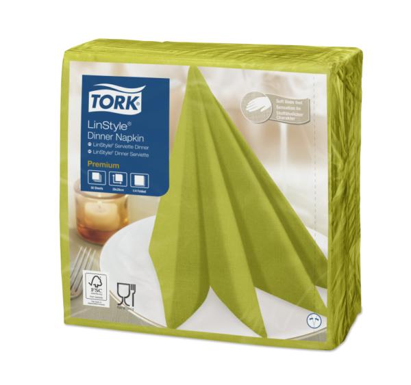 Salveta za večeru Tork Premium Linstyle® 39×39 cm, 50 l/pak, pistacije