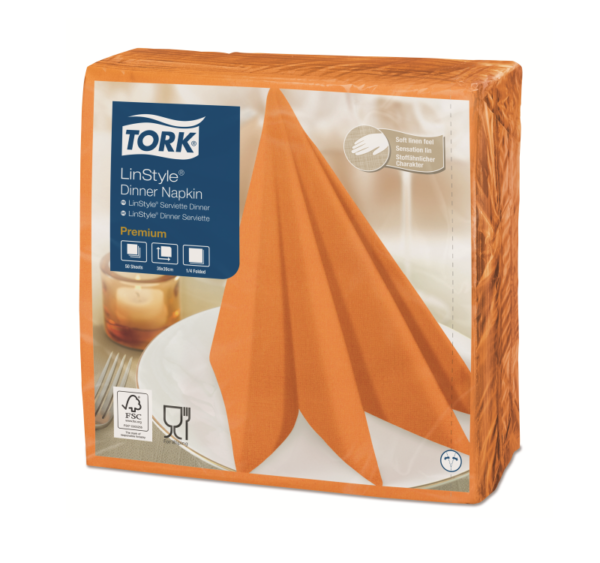 Salveta za večeru Tork Premium Linstyle® 39×39 cm, 50 l/pak, narandžasta