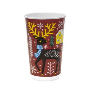 Papirna čaša 2-sl 400 ml d=90 mm Zimska bajka (18 kom/pak)